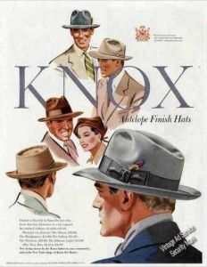 1950 men's Knox hats ad.  Antelope finish sounds mighty fancy.