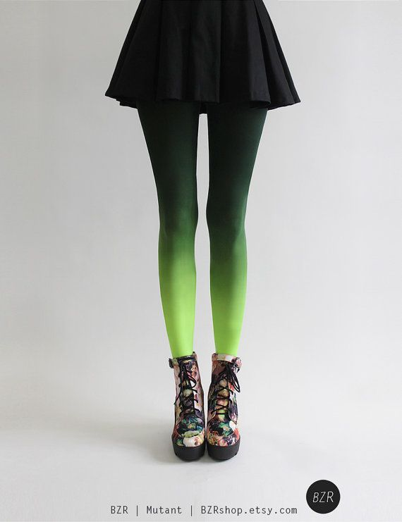 Hand Dyed Ombré Tights in Mutant by Tiffany Ju. A new color for 2014 Fall and not for the faint hearted. It goes from a hunter green on top to a neon