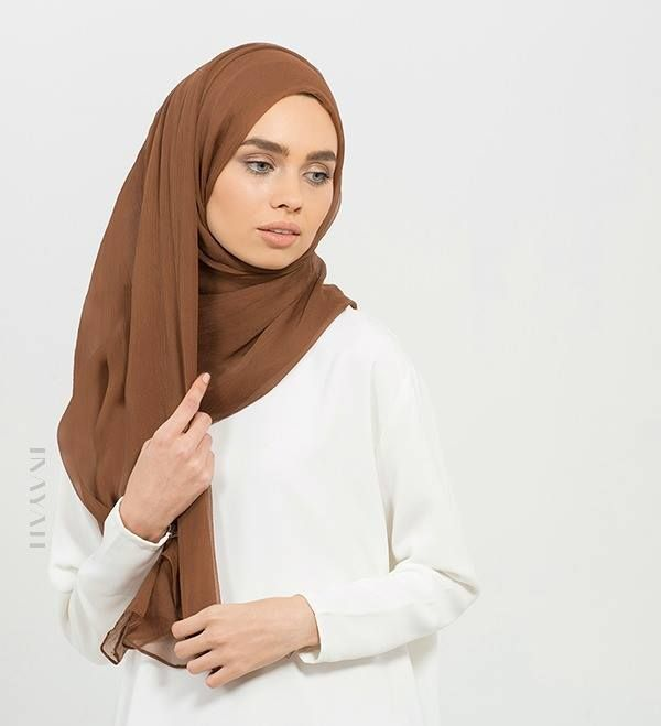 Add some warmth and colour to your outfit by styling this Deep Copper #Maxi #Silk #Chiffon #Hijab. Visit our website at www.inayah.co