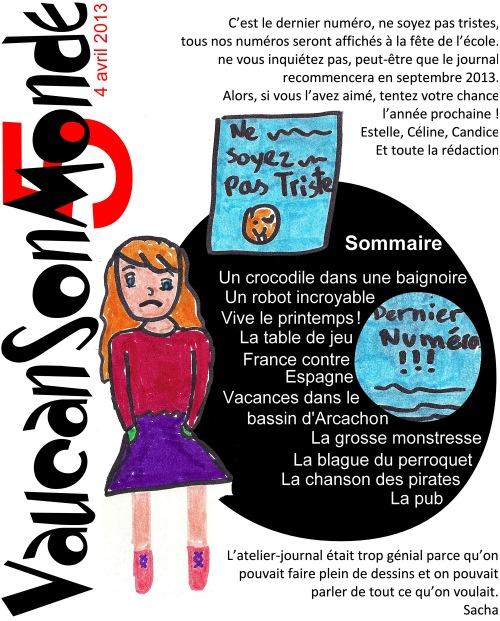 VaucanSonMonde, n° 5, avril 2013, école, Paris