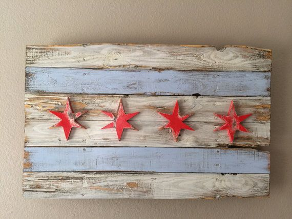 Distressed 3D Chicago Flag, reclaimed wood, weathered, 6 pointed star, windy city, chi town, Illinois, home decor, wall art by CraigMoodieDesigns.