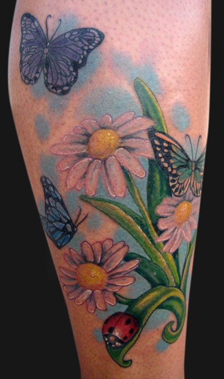 Katelyn crane daisies and bugs tattoos by katelyn for Daisy of love tattoo sleeve