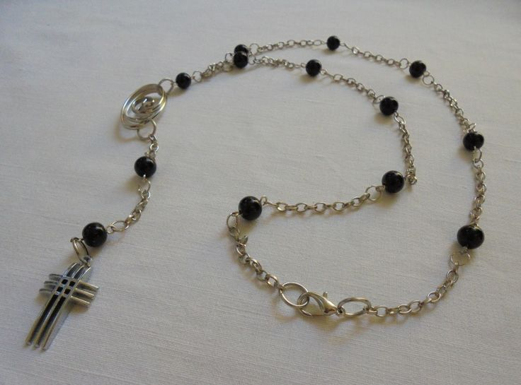 Unique Handmade Rosary of Nickel free Chain, with Agate's beads, Metallic decorative & Nickel free Cross. Length: 46cm