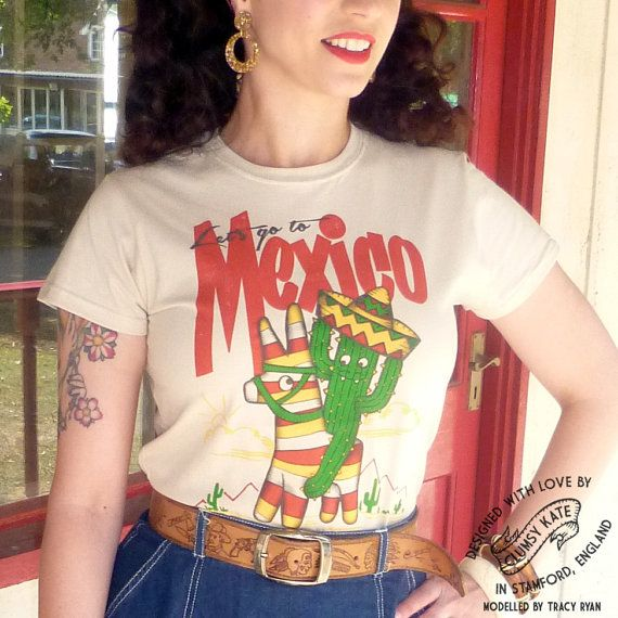 Mexican Cactus Vintage Style Tee Shirt by Clumsy by ClumsyKate