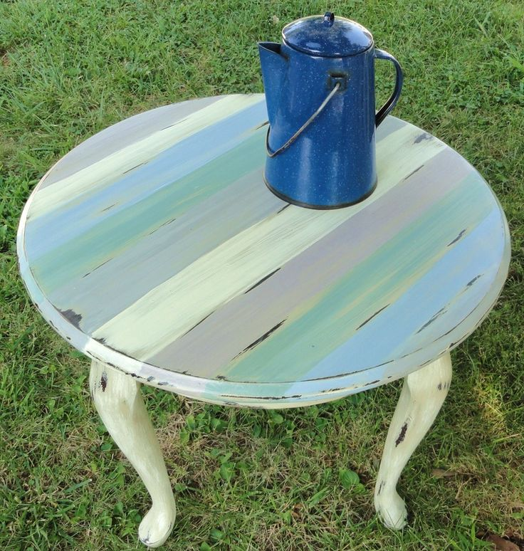 Annie Sloan Chalk Paint Striped Table  Base color Country Grey, stripes of Louis Blue, Old White, Paris Grey, Paloma, and Duck Egg Blue.  Old White dry brushed over legs and sides.