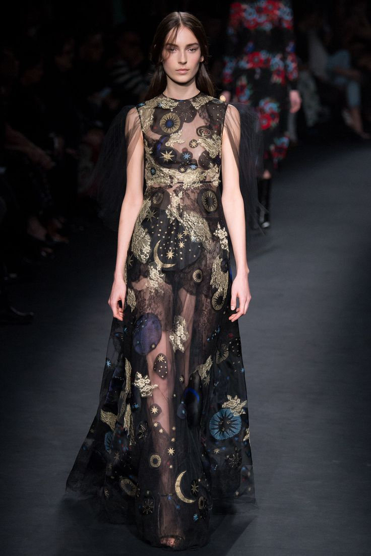 Valentino - Fall 2015 Ready-to-Wear - Black tulle sleeveless maxi dress with gold embroidered stars, planets, and constellations