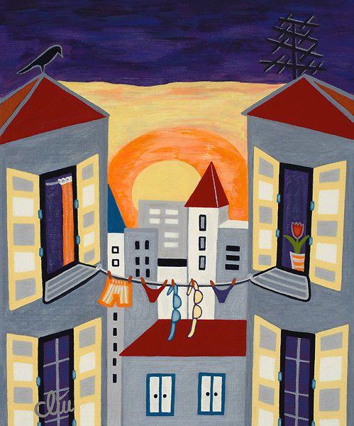 JACQUELINE DITT - Purple Sky (Lila Himmel) 2014 Gemälde Kunst Bilder Stilleben