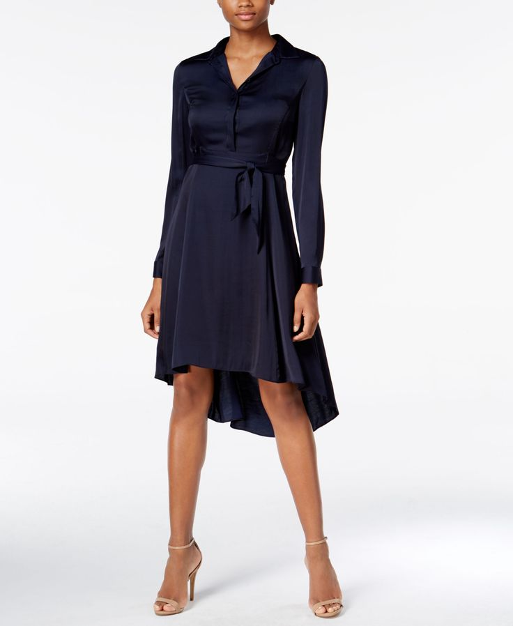 Create an exceptional look that is perfect for a night out with Armani Exchange's super-chic fit & flare dress. | Polyester/viscose; Lining:polyester | Dry Clean | Imported | Point collar | Button clo