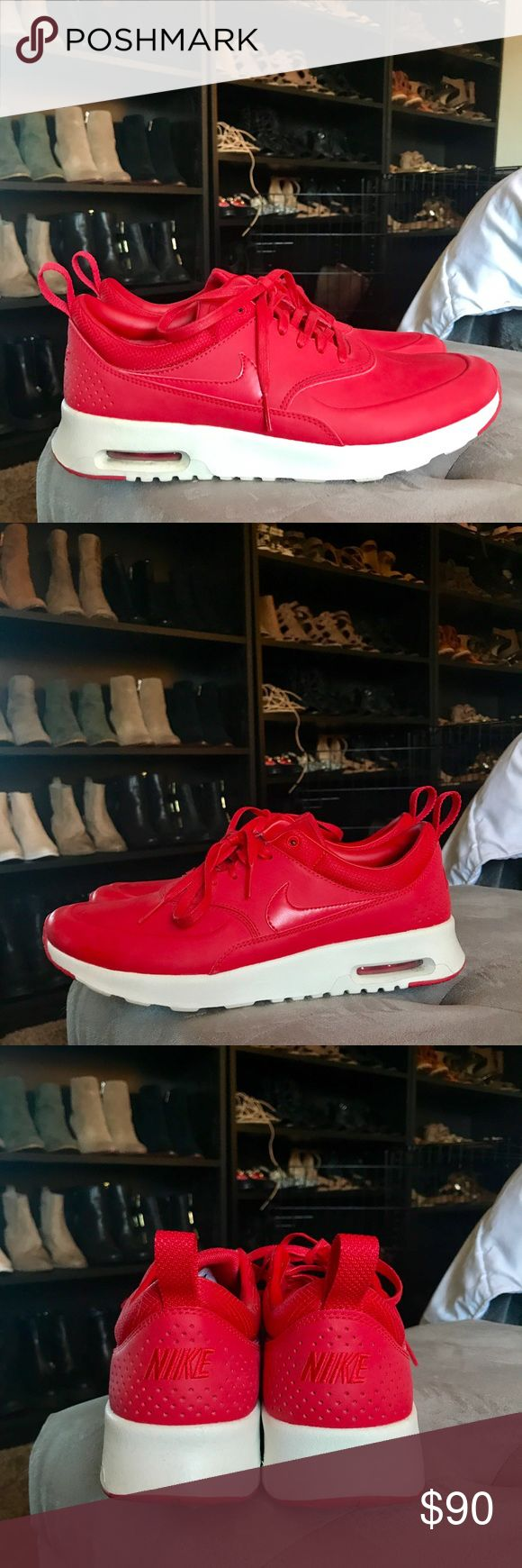 Nike Red Air Max Thea Premium Size 9 Nike air max Thea premium in red size 9. Worn twice, great condition. Nike Shoes Sneakers