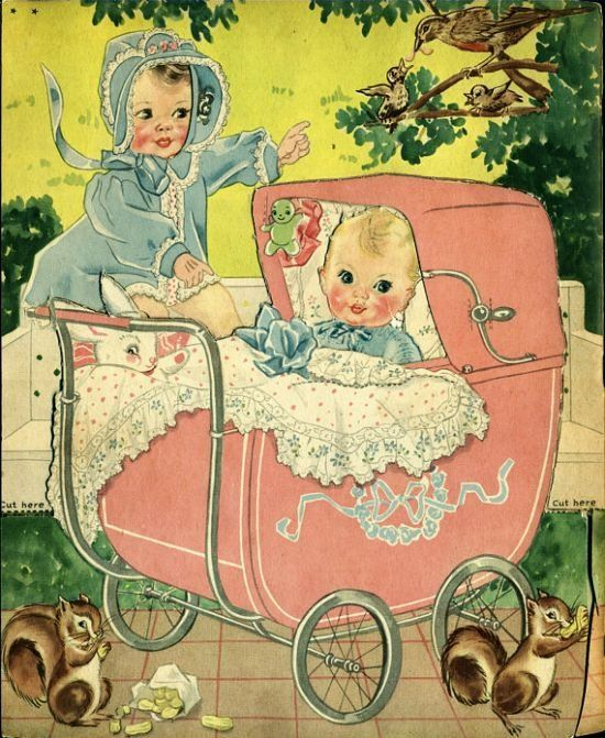 "Vintage Artwork... ""Baby Sisters in the Park"""