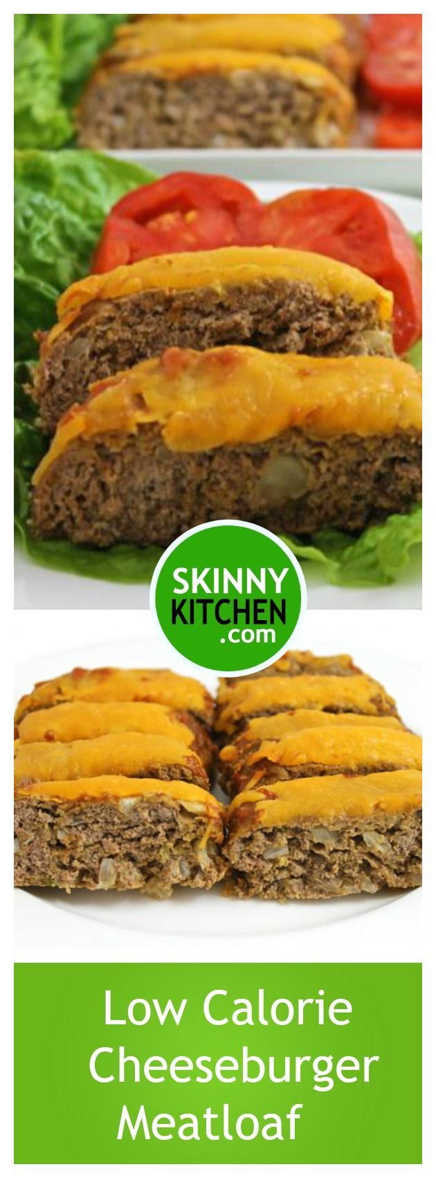 Low Calorie Cheeseburger Meatloaf. It's extremely delicious and perfect for any night. Each 2 slice serving, 229 cal, 8g fat & 5 Freestyle SmartPoints. #meatloaf #freestyle #cheeseburger https://www.skinnykitchen.com/recipes/low-calorie-cheeseburger-meatloaf/