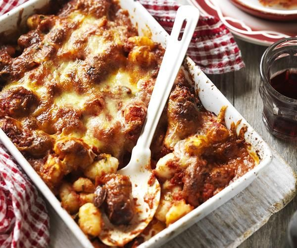 Baked gnocchi and meatballs