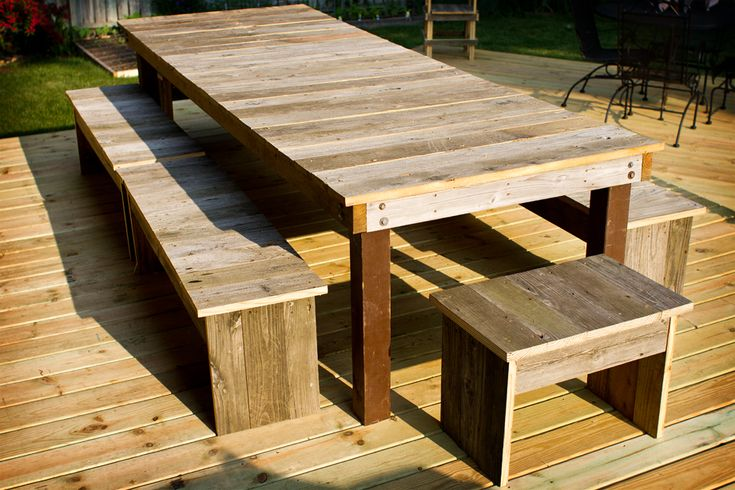 Table Benches Made From Old Deck Boards Home In 2019