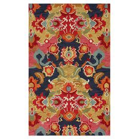 Colorful hand-tufted rug.