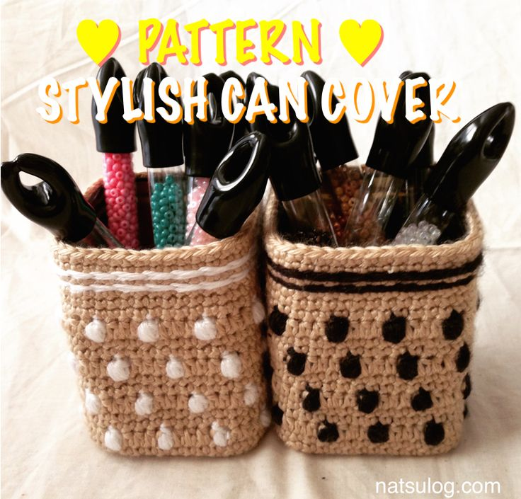 Step-by-step Crochet Pattern: Dots and Stripes' Stylish Can Cover. You can change your empty cans to something cute!! It's also very environmentally friendly to recycle a can! Nice interior decor.