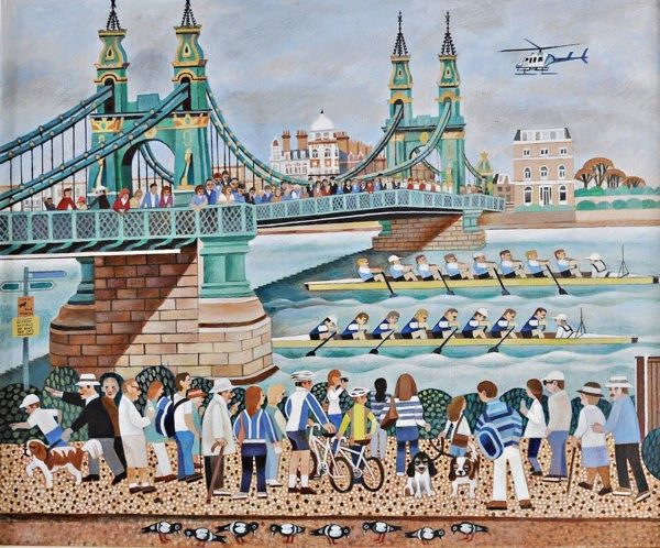Boat Race at Hammersmith Bridge by Alfred Daniels