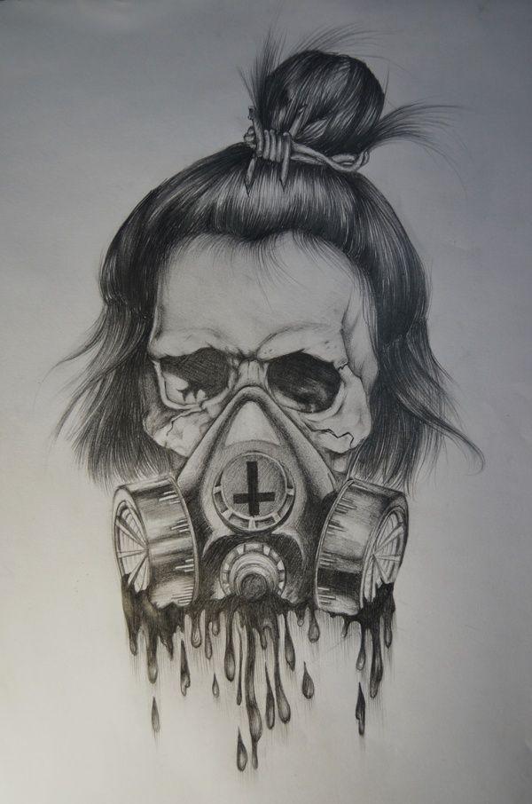 Drawing by Braemo Mae, via Behance #skull #gasmask # ...