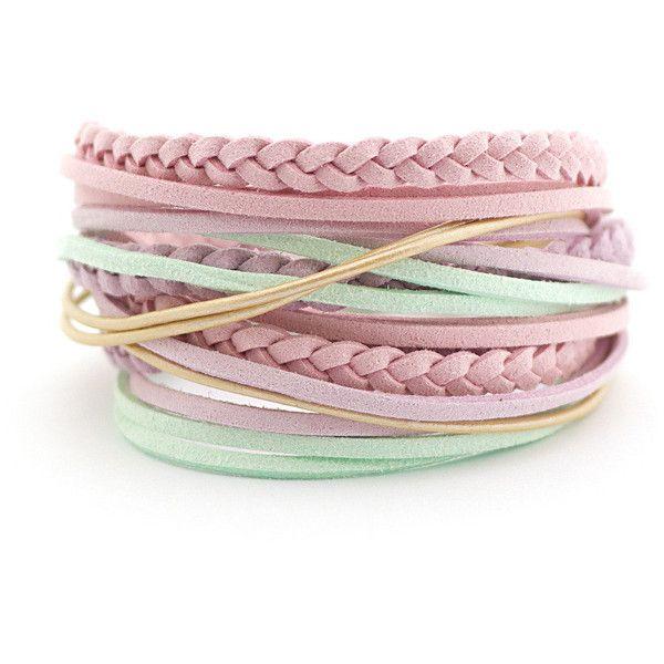 Pastel Colors Boho Wrap Bracelet, Mint Lilac Pink Cream Bracelet,... (€17) ❤ liked on Polyvore featuring jewelry, bracelets, boho style jewelry, bohemian style jewelry, mint jewelry, pink bangles and pastel jewelry