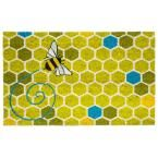 Honeycomb 17 in. x 28 in. Non-Slip Coir Door Mat, Light Green/Yellow