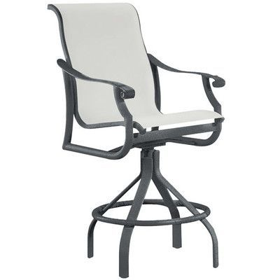 "Tropitone Montreux 28"" Bar Stool Frame Finish: Obsidian, Seat Color: Sparkling Water"