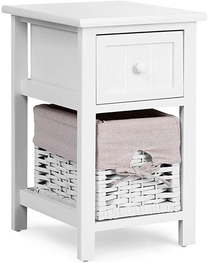Giantex Nightstand Mini Wooden W Drawer And Removable Wicker Storage Basket For Living Room Bedroom Children Room Fully Assembled Beside Sofa Table En Wicker Baskets Storage White Furniture Living Room End Tables