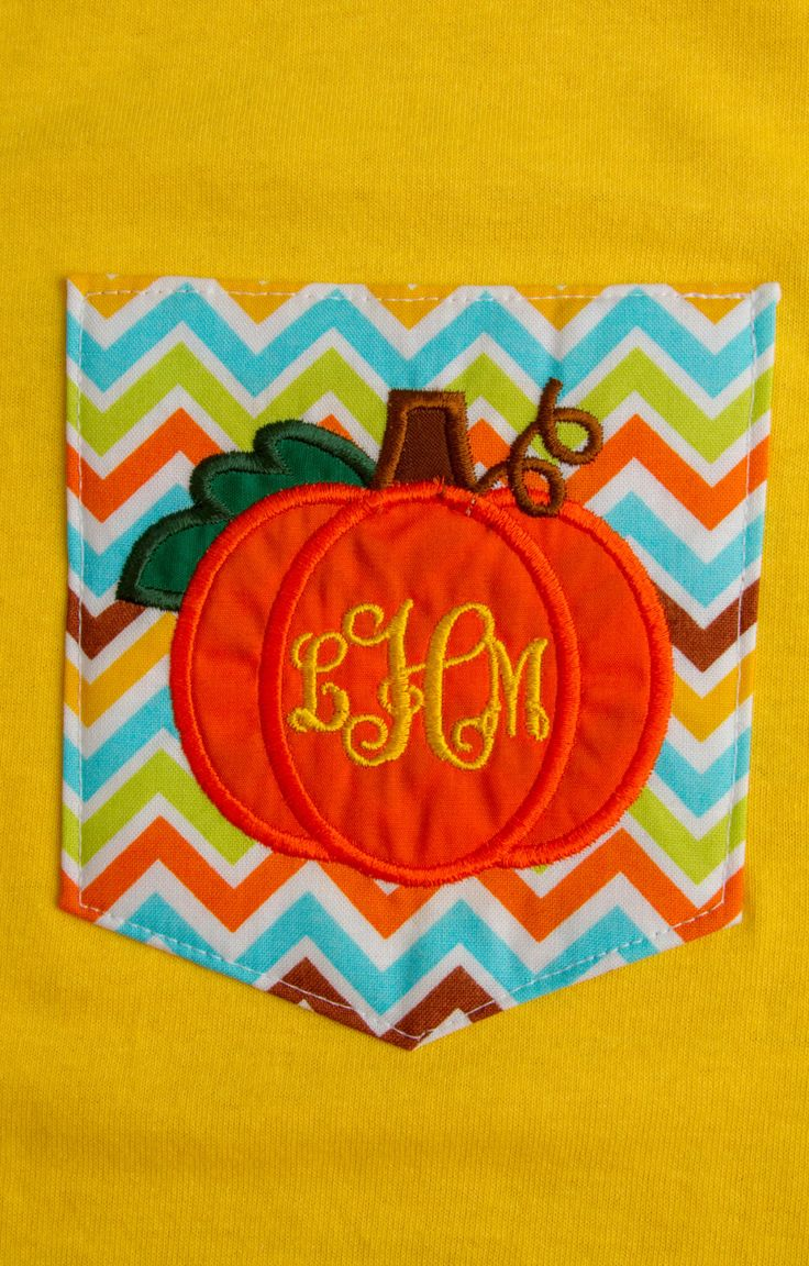 Chevron Pocket T-shirt with Appliqued Pumpkin and Monogram by BurlapandLaceSC1 on Etsy https://www.etsy.com/listing/199002526/chevron-pocket-t-shirt-with-appliqued