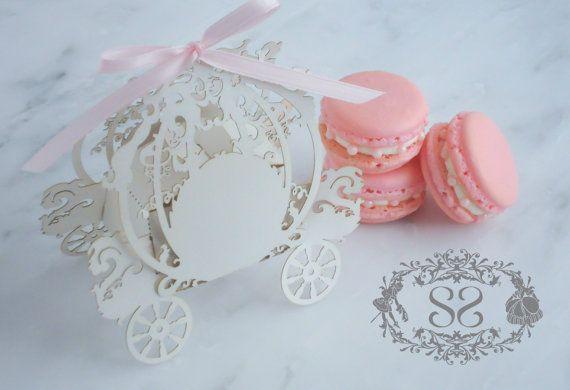 French Macaron Favor Princess Wedding Cinderella Carriage Favor Box ...