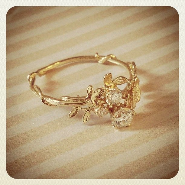 Diamond Wild Rose Ring... fairy-like and magical. But I think I would prefer white gold for the band