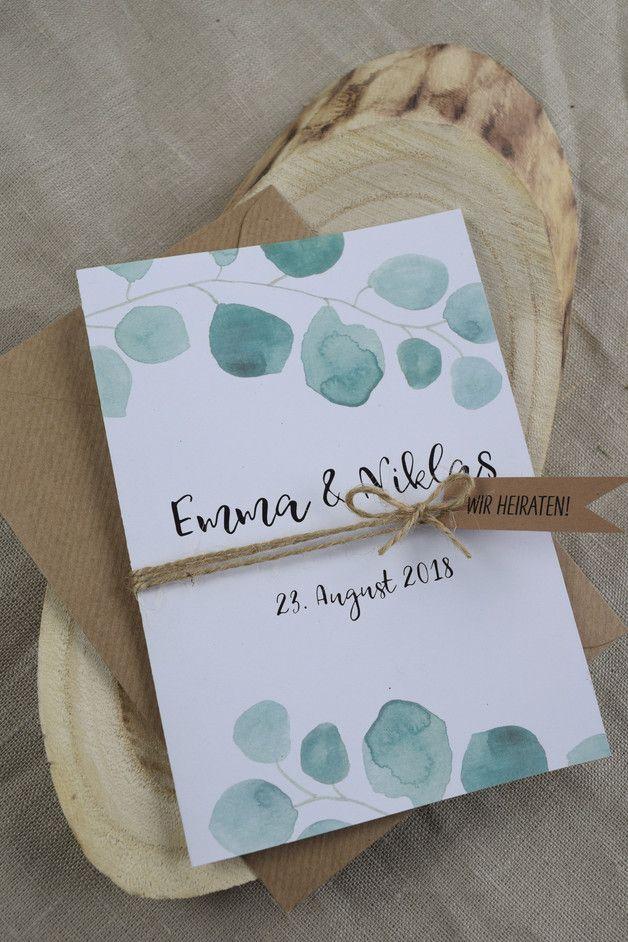 Hochzeitseinladung Eukalyptus Vintage Style Hochzeitskarten