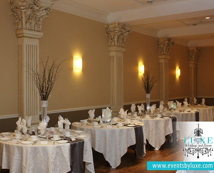 Black White And Silver Wedding Decor Tall Branch Centerpieces With Hanging Crystals Winter Wonderland