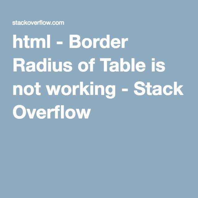 html - Border Radius of Table is not working - Stack Overflow