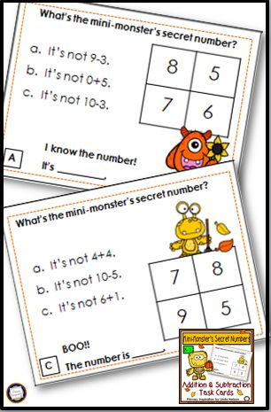 Your students will have lots of fun while they learn with this set of 24 fall task cards for addition and subtraction through ten. Lots of math practice on each card! https://www.teacherspayteachers.com/Product/Fall-Addition-Subtraction-Task-Cards-2796865