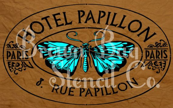 French Stencil - HOTEL PAPILLON - 12X20 - furniture - signs - burlap - walls - reusable mylar stencil - French