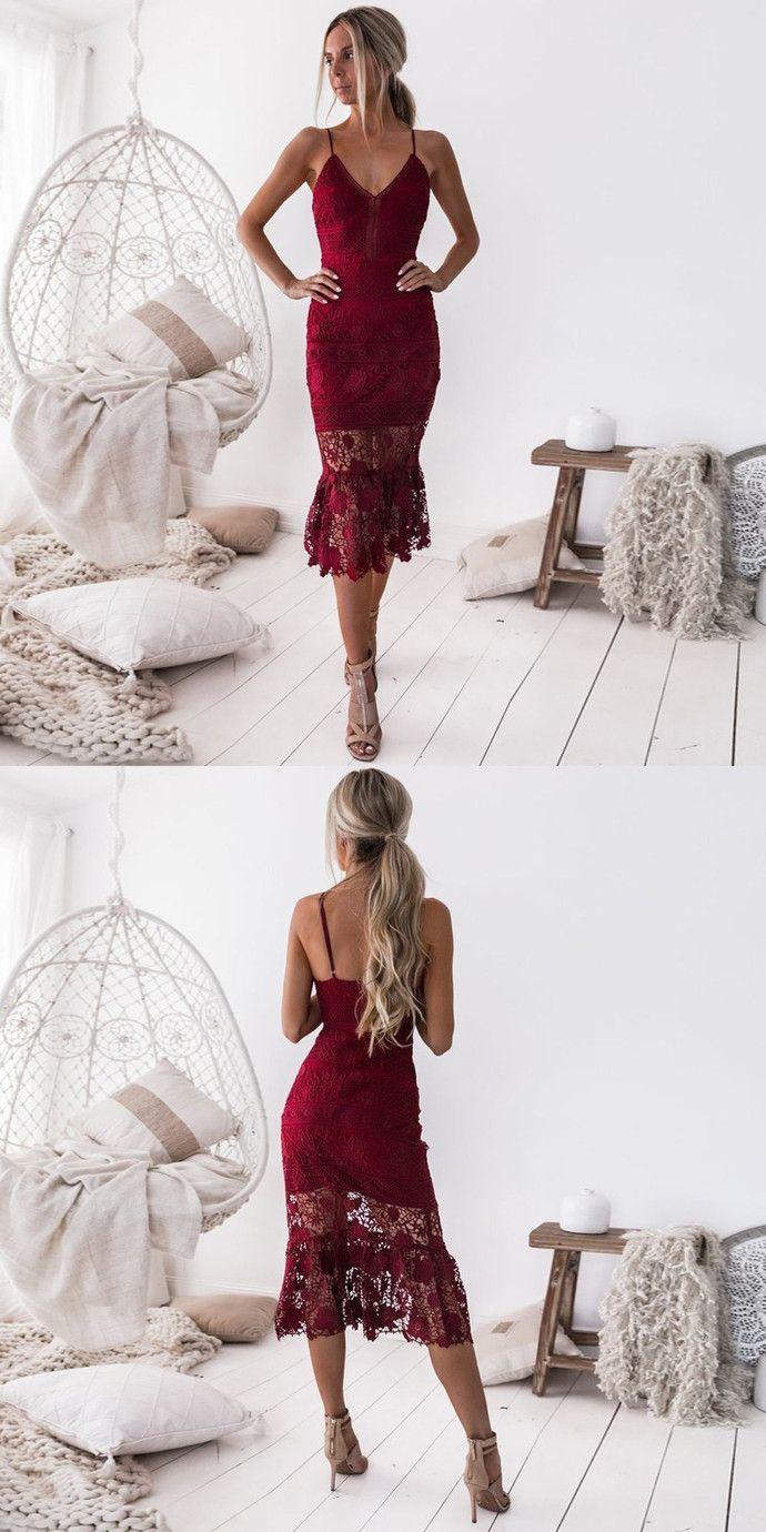 Sheath spaghetti straps tealength burgundy lace homecoming prom