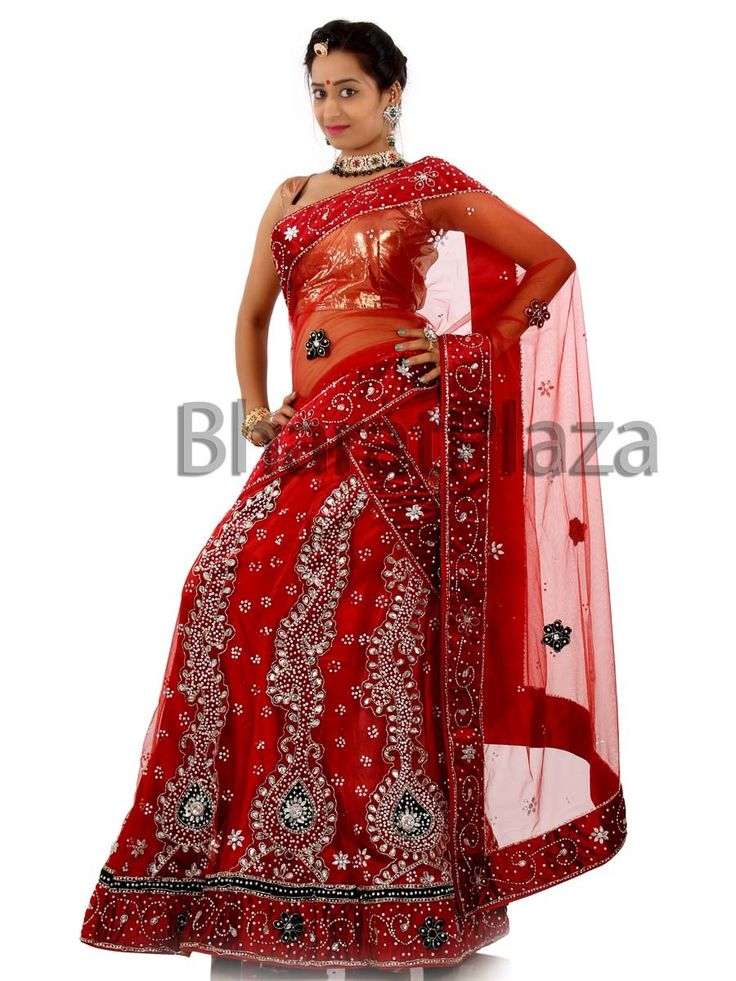 Every bride would want to drape this ensemble for more beautiful looks.  Item Code: GMFH173N12-4 http://www.bharatplaza.com/new-arrivals/lehengas.html