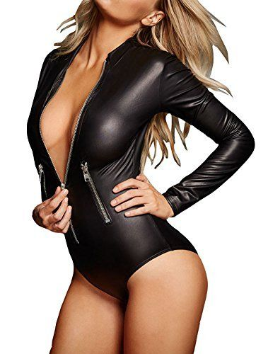 New Trending Bodysuits: Sexy Womens Black Leathery Long Sleeve Zip Detail Bodysuit (M, Black). Sexy Womens Black Leathery Long Sleeve Zip Detail Bodysuit (M, Black)  Special Offer: $17.99  488 Reviews This bodysuits is gorgeous and sexy ,And its Fashion design make you more charming.One Size Fits US Size XS-MMaterial: LeatherZip DetailLong SleeveSexy and attractive