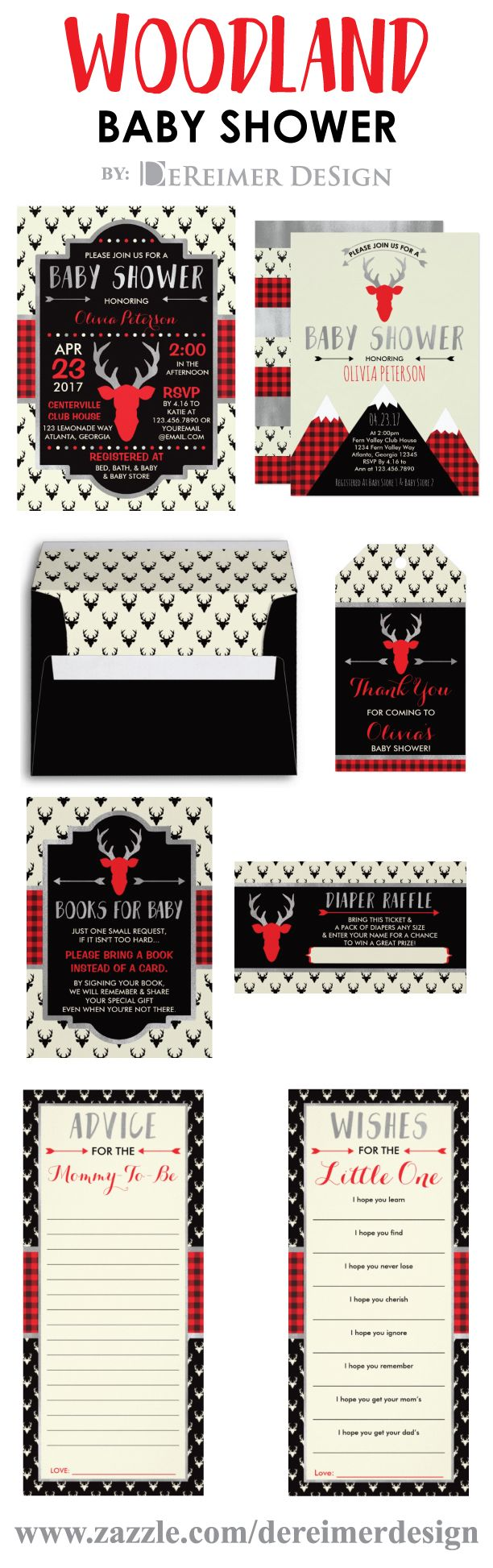 Woodland Baby Shower, Red, Black, Silver, Plaid, Antlers, Arrows