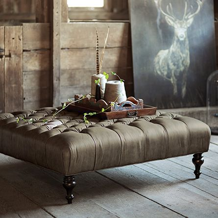 Club Tufted Leather Ottoman In Evolution Silver - Family Room in special order fabric