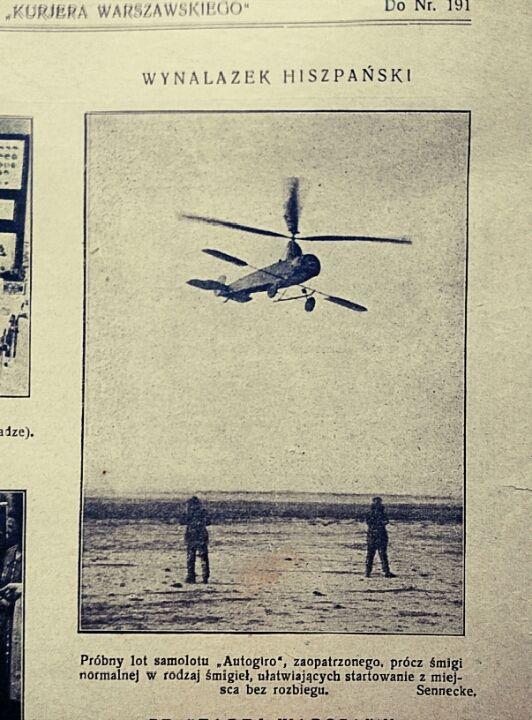 Autogiro, wiatrakowiec. Lata 20te foto z Kuriera Warszawskiego