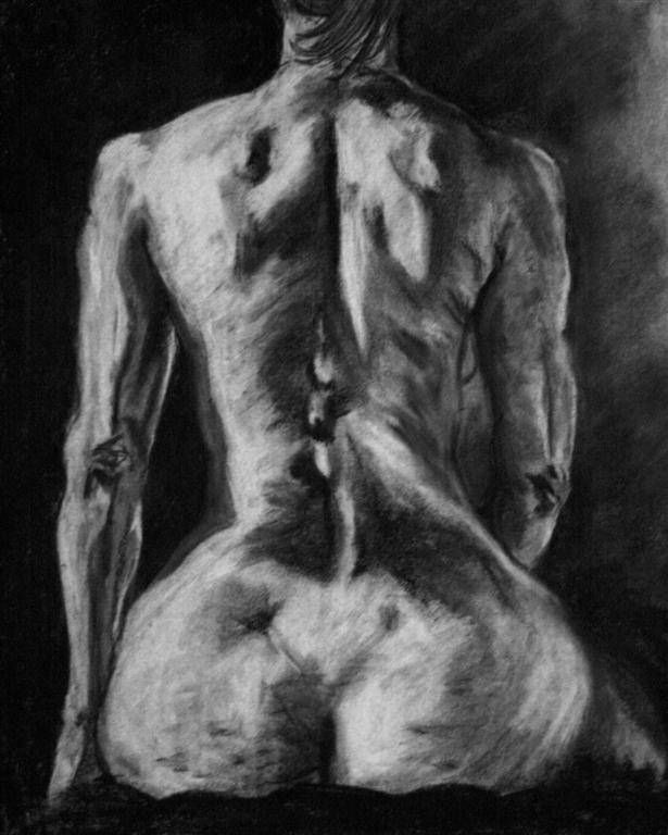 "Clara Lieu, Student Artwork, Wellesley College, Life Drawing course, Figure Drawing,  charcoal on paper, 24"" x 36"""