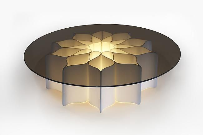 PIERRE PAULIN1  /  2 Light Table for Palais de L'Elysee, 1970 White opaque plexiglass, smoked glass 12.5 H x 47.5 D inches 31.75 H x 120.65 D cm Edition Mobilier International / France