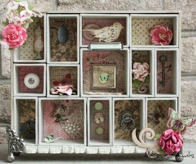 Shabby Chic shadowbox idea - cute! Can make a nice little display of bits and pieces not being used (especially if I don't mind changing it out when I need something!)