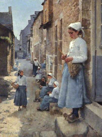 A Street in Brittany - Stanhope Alexander Forbes - 1881