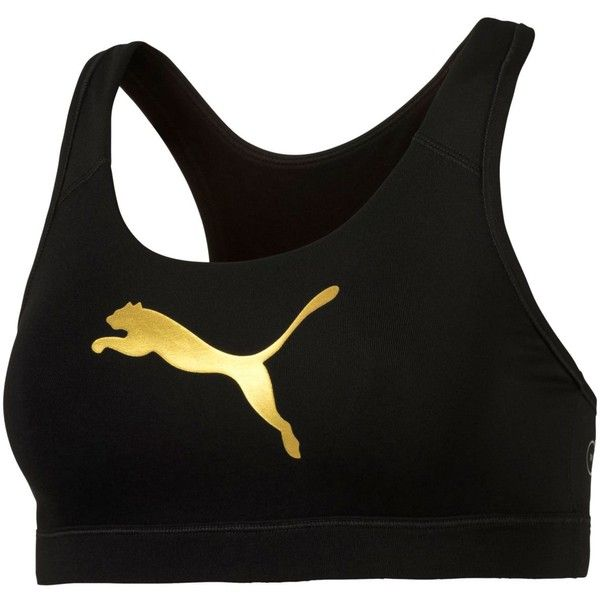 Puma Powershape Forever Gold dryCELL Mid-Impact Racerback Sports Bra (420 ARS) ❤ liked on Polyvore featuring activewear, sports bras, black, gold sports bra, racer back sports bra, puma sportswear, puma sports bra and puma activewear