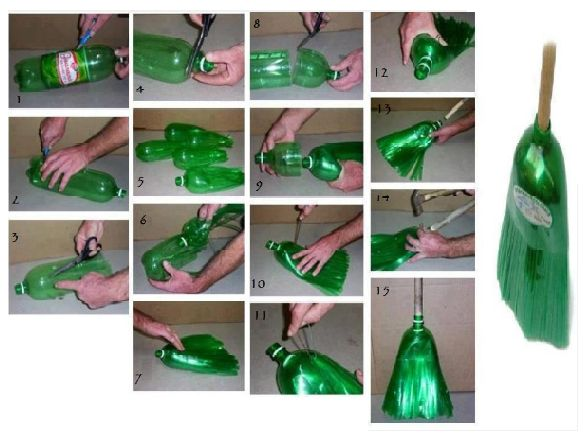 House made out of bottles make a broom out of a 2 liter for Things to make out of plastic bottles