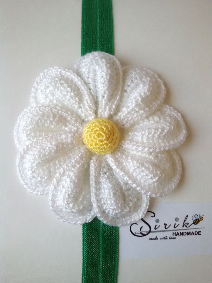 Crochet Headband big crochet flower stretchy elastic baby headband hair band (7.00 USD) by SirikHandmade