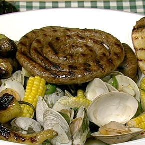 Michael And Mario's Mixed Grill Surf N' Turf -- A surprise in a package for Patrick: Mario Mixed, Mario Batali, Chewing Recipe, Michael Symon, Chewing Mixed Grilled, Turf Recipe, Favorite Recipe, Grilled Surfing, Bbq Recipe