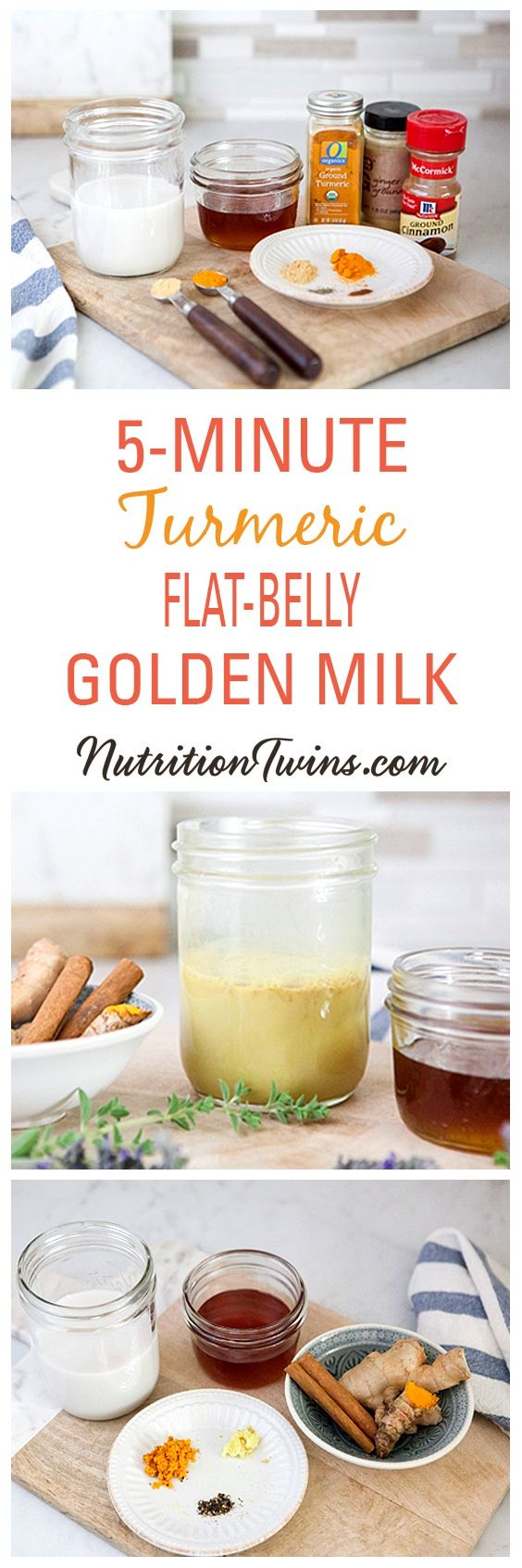5-Minute Turmeric Flat-Belly Golden Milk | Only 45 Calories | Anti-inflammatory, Flushes Bloat | Easy to make--mix & match ingredients!