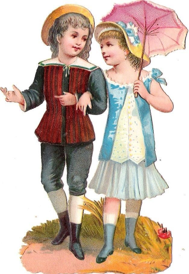 Oblaten Glanzbild scrap diecut chromo Kind child couple Paar Schirm umbrella: