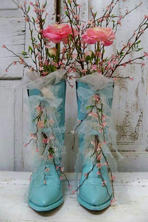 Shabby cottage aqua cowboy boots floral bouquet pink ranunculus home decor